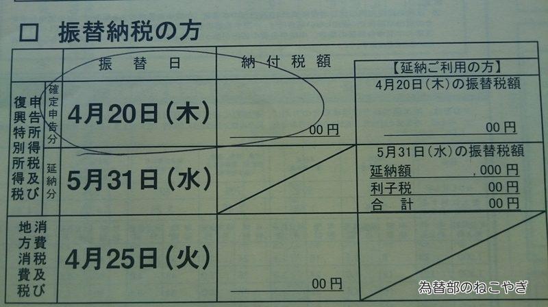 平成28年分振替納税日