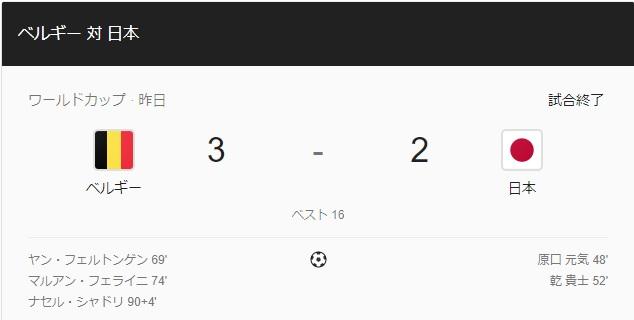【2018FIFAWC】日本vsベルギー